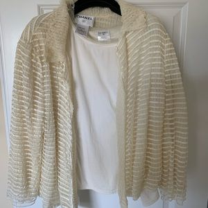 Genuine CHANEL cream Lace layered jacket
